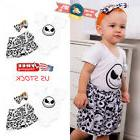 Newborn Baby Girls Disney Jack T-shirt+Dress Skirt Headband