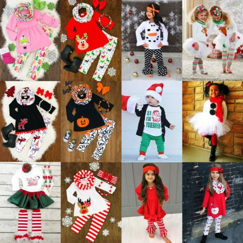 Newborn Kid Baby Girls Christmas Halloween Dress Pants Outfit