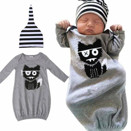 Newborn Kids Baby Boys Girls Sleepwear Pajamas Robe Gown Hat