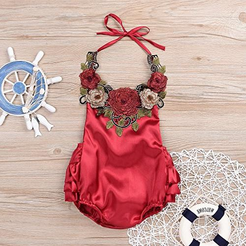 Newborn Toddler Applique Halter Bodysuit,Ruffle Sunsuit 80,