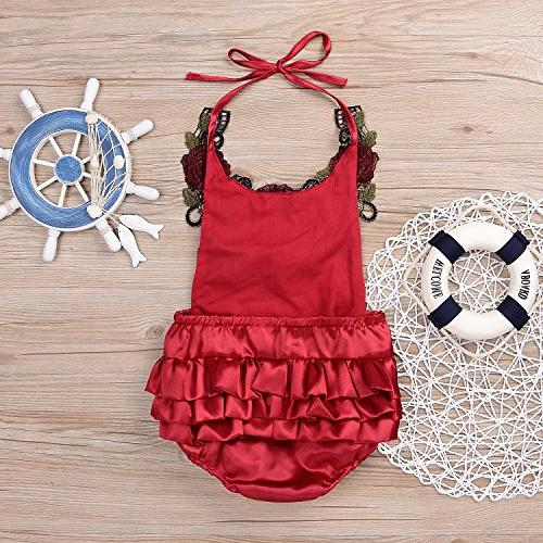 Newborn Applique Halter Floral Romper,Backless