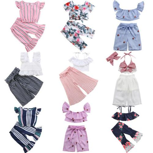 Fashion Newborn Toddler Baby Girl Crop Top T-shirt Long Pant