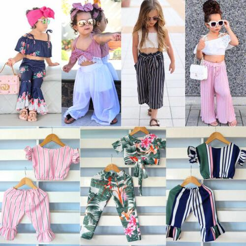Fashion Newborn Baby Girl Top Long Pants Outfits US