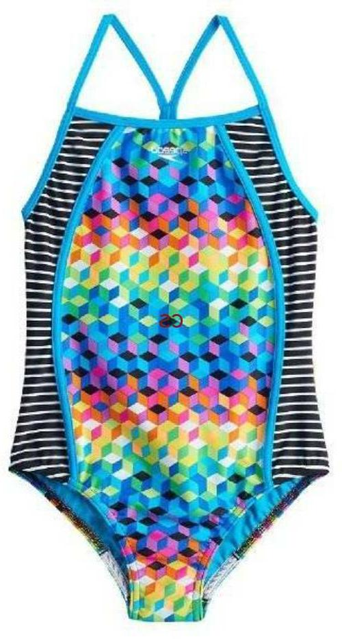 NWT $44-Girls Speedo 1 Pc Geometric Blue Bathing Swimsuit-si
