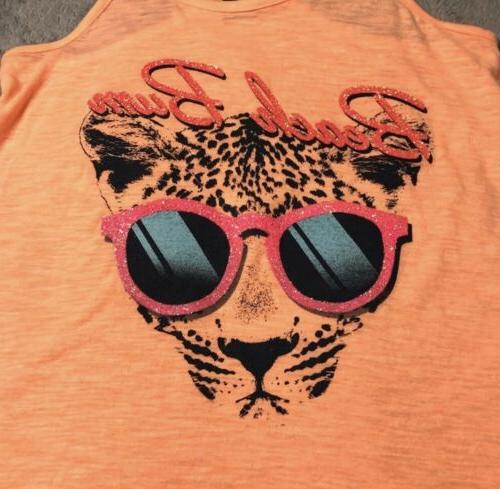 "NWT ""Beach Bum"" Tiger Top..Teen Size XL..Peach/Orange"