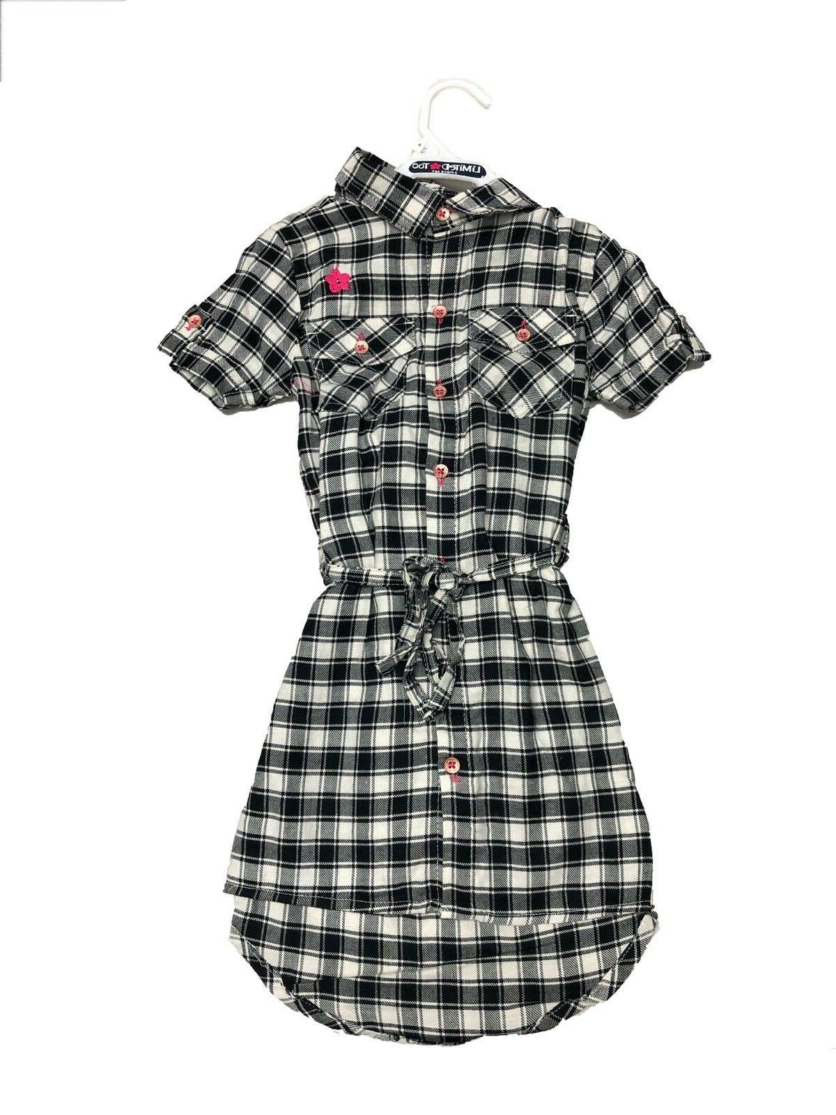 NWT Limited Black White Plaid Dress with Pink Knit Sweater
