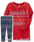 NWT OshKosh B'gosh 2pc Outfit Set Red Fair Isle Tunic Navy L