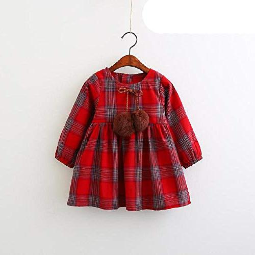 SAFJK Kids Autumn Red Plaid Design Baby Long Sleeve Dress