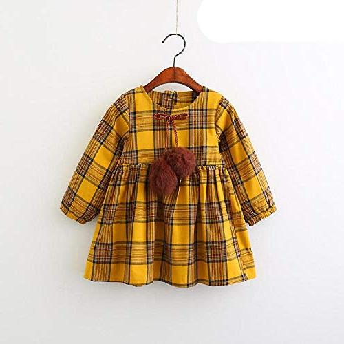 SAFJK Autumn Red Yellow Plaid Ball Design Girls Long Sleeve 008