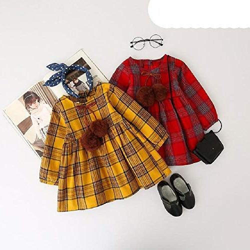 Red Plaid Ball Bow Design Baby Sleeve Dress 008