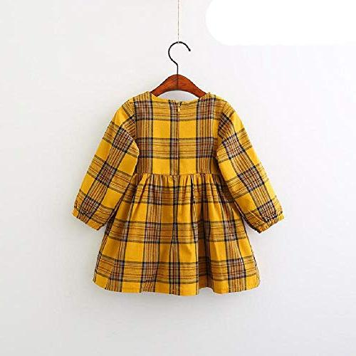 SAFJK Kids Red Plaid Fur Ball Design Baby Sleeve Dress 4