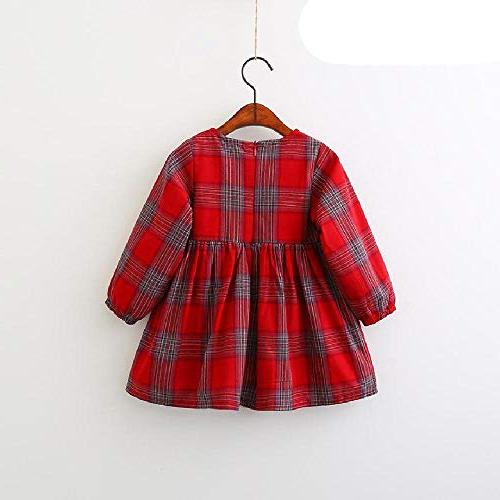 SAFJK Red Plaid Bow Design Baby Sleeve Dress 008 4