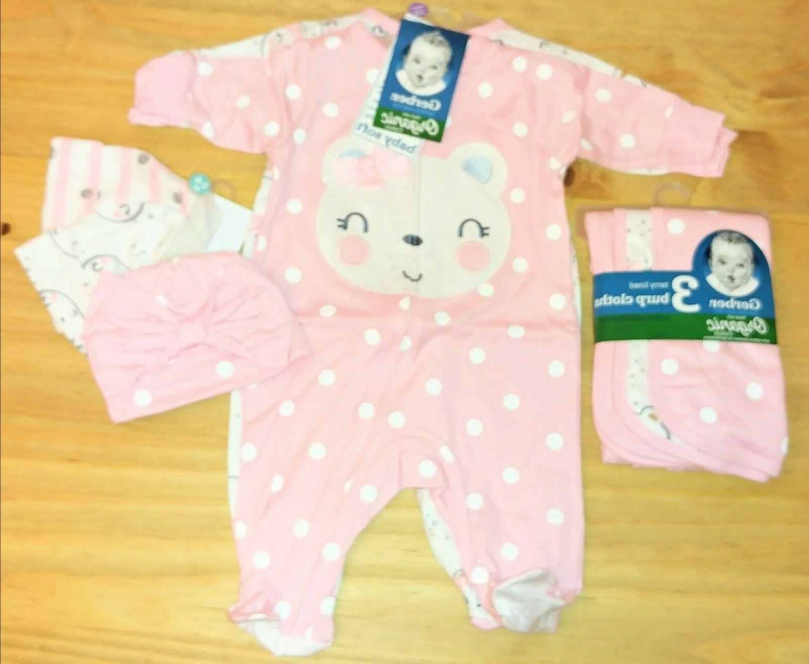 GERBER SLEEPERS HATS BURP CLOTHS NEWBORN GIRL BABY SHOWER GI