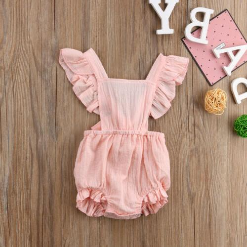 Sleeveless Newborn Baby Girl Summer Ruffle Cotton Jumpsuit Outfit Clothes