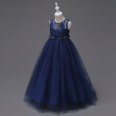 For Wedding Bridesmaid Lace Flower Girl Dress Maxi Long Ball Gown