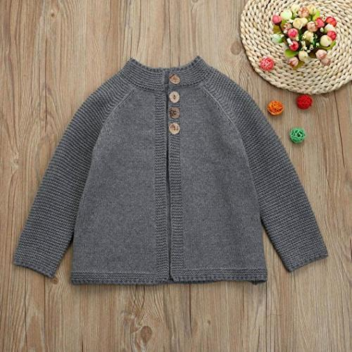 Sunbona Baby Cute Autumn Button Knitted Sweater Coat Clothes , Gray)