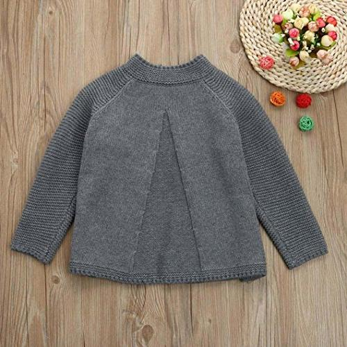Sunbona Toddler Cute Sweater Coat Clothes , Gray)