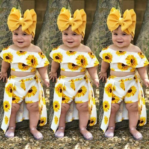 toddler baby girls summer clothes sunflower print