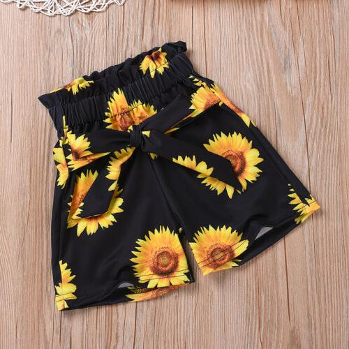 Toddler Summer Clothes Ruffle Tops+Sunflower Shorts Pants