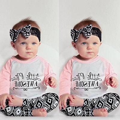 Toddler Baby Kids Clothes T-shirt Leggings Headband 3PCS