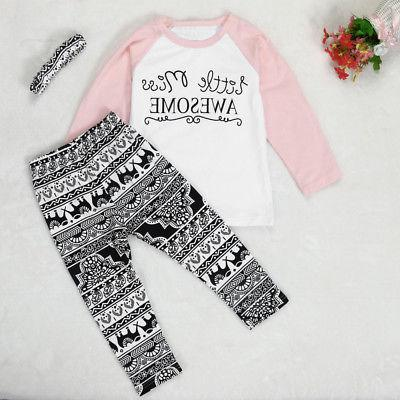 Toddler Baby Clothes Leggings Headband 3PCS