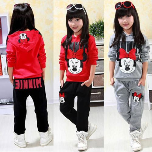 Toddler Kids Minnie Outfit Clothes Tops Pants Tracksuit Set