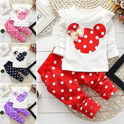 Toddler Kids Minnie Mouse Outfit Clothes Tops Pants Tracksuit Set