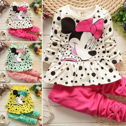 2pcs toddler kids baby girls minnie mouse