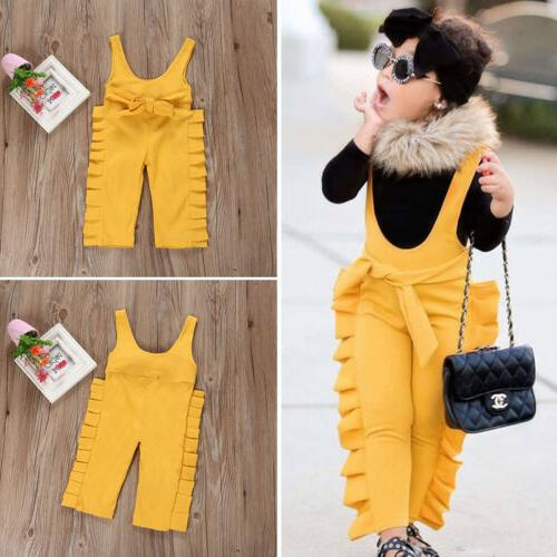 US Baby Ruffle Overalls Jumpsuit Outfit Clothes