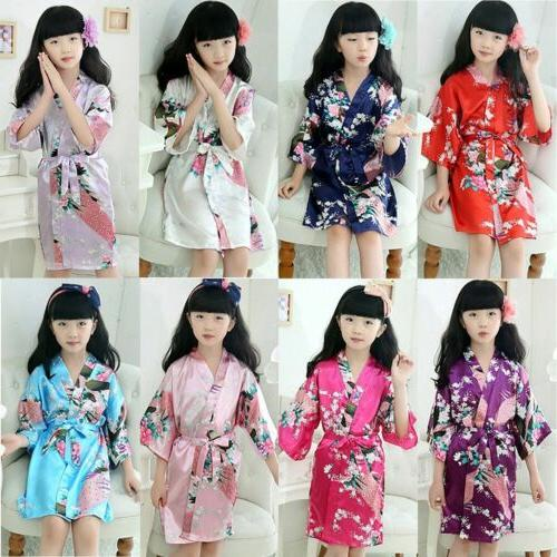 Toddler Kids Baby Girls Bath Robe Sleepwear Homewear Pajamas