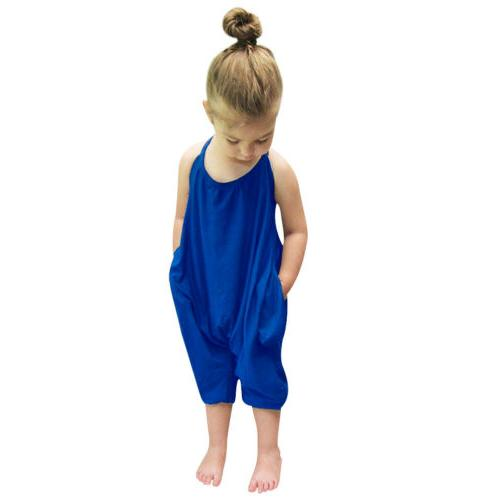 Toddler Baby Summer Strap Romper Harem Clothes