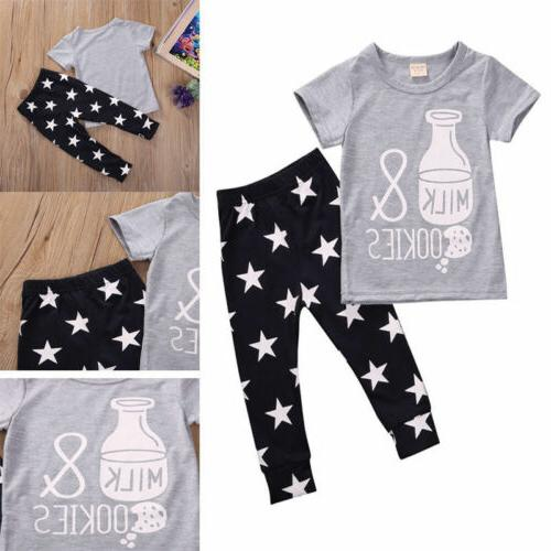 Toddler Boy T-shirt Tops+Long Outfits Babysuit Clothes