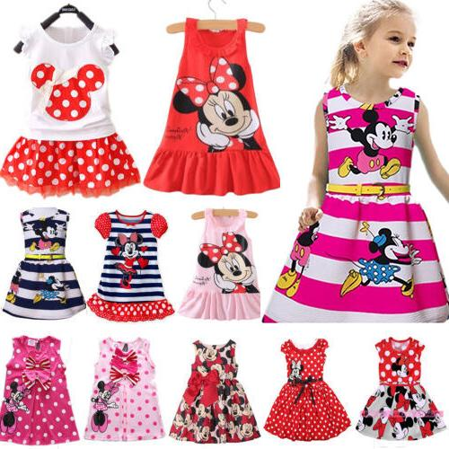 Toddler Kids Minnie Mouse Party Sleeveless Clothes