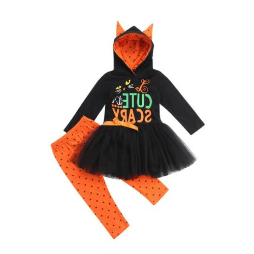 Toddler Kids Girls Halloween Hoodie Dress+Long Pants Outfits