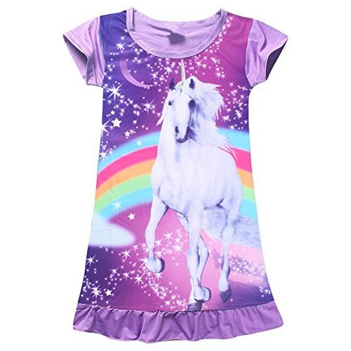 unicorn star rainbow print nightgown