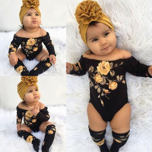 US Newborn Baby Girl Off Shoulder Romper+Leg