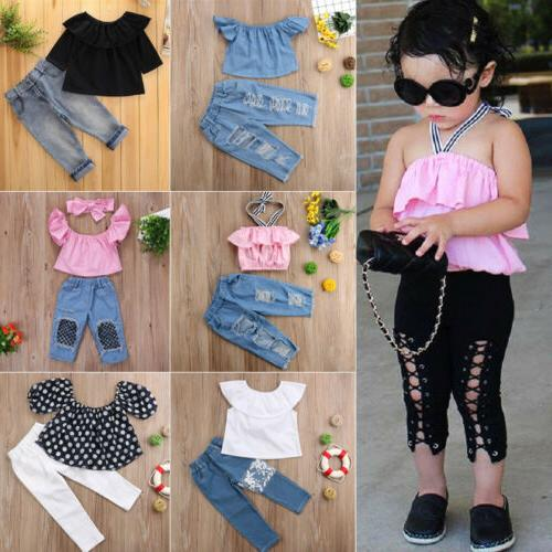 US Denim Baby Girl Lace Off Crop Top Pants Outfits Clothes