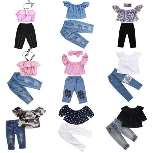 US Toddler Baby Girl Crop Pants Outfits Clothes