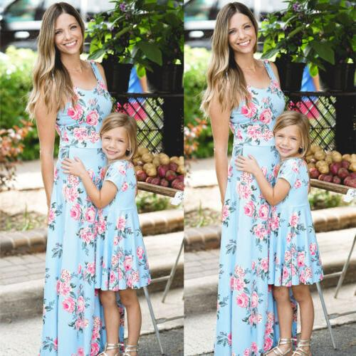US Family Match Mother and Clothes Dress Baby Girl Sundress