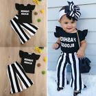 US Fashion Blogger Baby Kids Girls Outfits Top T-shirt +Flar