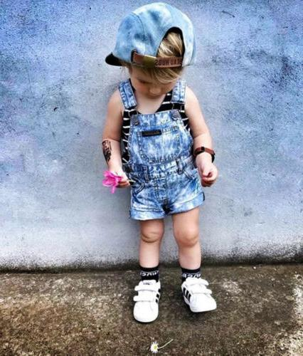 US Kids Girls Denim Romper Clothes
