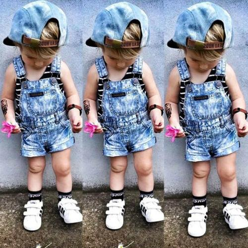 us kids baby boys girls denim romper