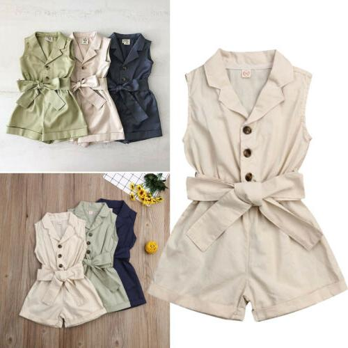 US Girl Clothes Sleeveless Jumpsuit Set