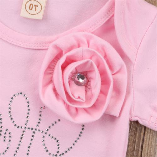 US Baby Girl 3D Flowers Bodysuit Jumpsuit Headband Outfit