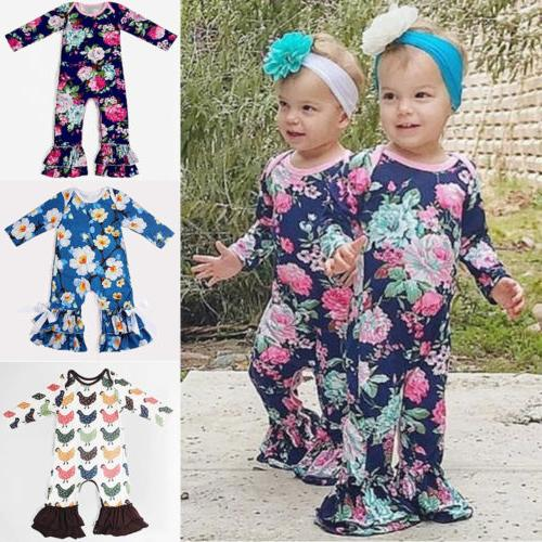 US Newborn Baby Girl Long Sleeve Flower Ruffle Romper Jumpsuit Clothes