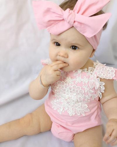 US Newborn Baby Romper Lace Floral Headband Set