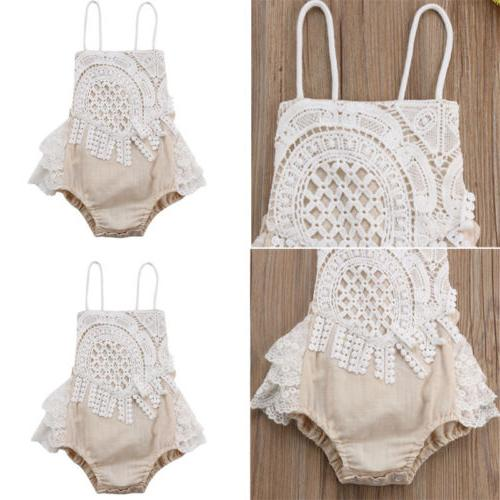 US Newborn Baby Hot Girl Bodysuit Jumpsuit Outfits