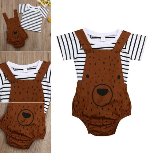 US Newborn Girls Bear Clothes Stripe Pants Overalls