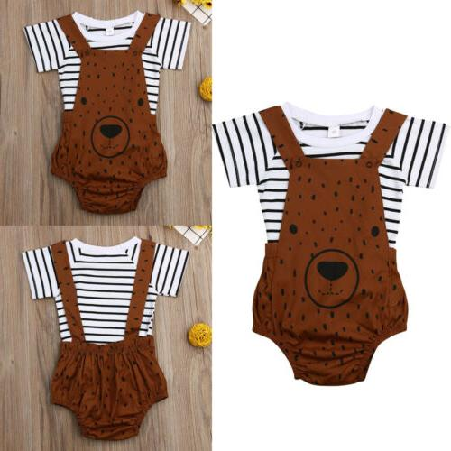 US Boy Bear Stripe Pants Overalls Outfits