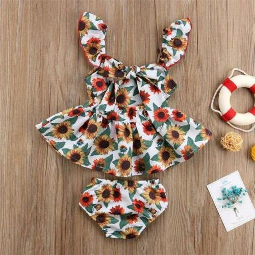US Newborn Kids Girl Flower Outfit Top Dresses+Panties Clothes